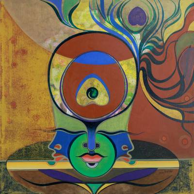 'Music Meditation – Tranquility' - Surreal Hinduism Deity Signed Fine Art Painting
