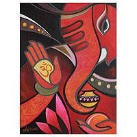'Blessing Ganesha II' - Modern Cubist Ganesha Painting