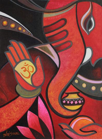Modern Cubist Ganesha Painting Blessing Ganesha Ii