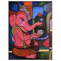 'Worshipping Ganesha' - Red Ganesha Painting from India