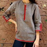 Cotton tunic, 'Delhi Surprise' - Indian Cotton Tunic with Crimson Details