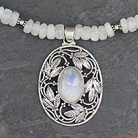 Rainbow moonstone pendant necklace, 'Mughal Garden' - Moonstone and Sterling Silver Handcrafted Pendant Necklace