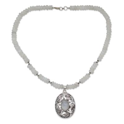 Rainbow moonstone pendant necklace, 'Mughal Garden' - Rainbow Moonstone and Sterling Silver Necklace