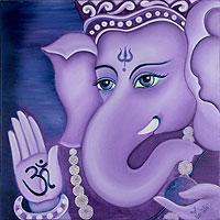 'Pious Ganesha' - Hinduism Deity Signed Fine Art Painting