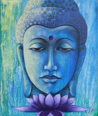 Original painting signed buddhism fine art paduma buddha for Buddha mural paintings