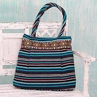 Cotton shoulder bag, 'Gujarat Blue Fantasy' - Hand-loomed Cotton Shoulder Bag from India