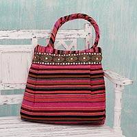 Cotton shoulder bag, 'Gujarat Pink Fantasy' - Hand-loomed Cotton Shoulder Bag from India