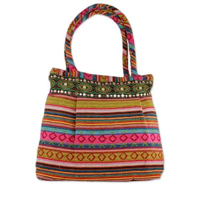Novica Cotton shoulder bag, In the Pink