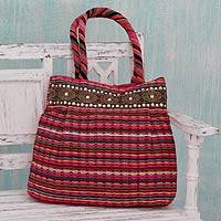 Cotton shoulder bag, 'Dawn Rainbow' - Embellished Handcrafted Cotton Shoulder Bag
