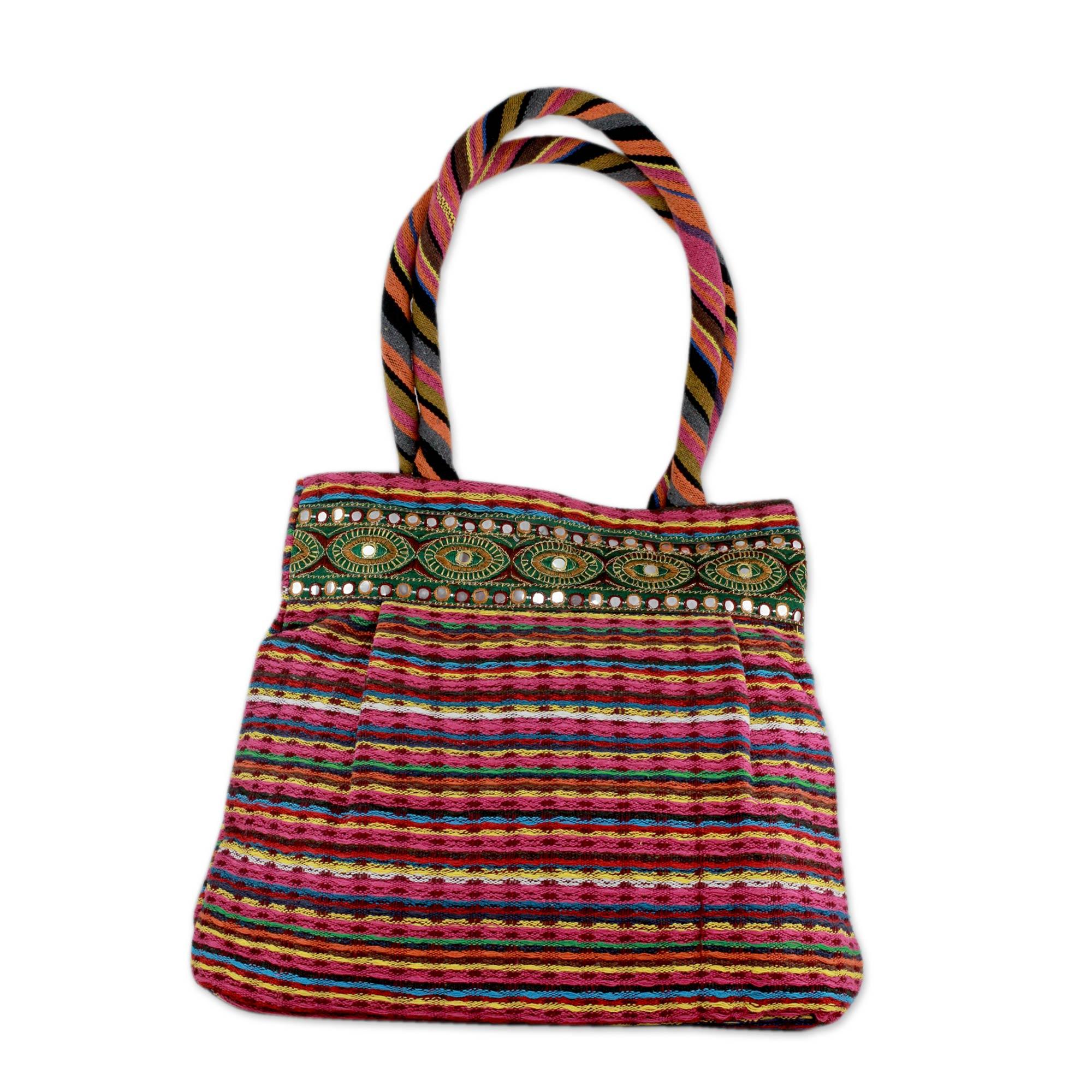 Novica Cotton sling tote, Think Pink - Handcrafted Embroidered Floral Cotton Shoulder Bag