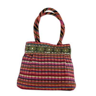 Novica Cotton shoulder bag, Life in Color