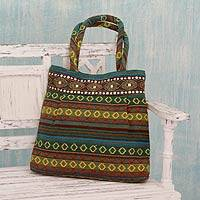 Cotton shoulder bag, 'Green Gujarat Glam' - Handwoven Green Cotton Gujarat Style Shoulder Bag