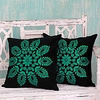 Cotton cushion covers, 'Teal Splendor' (pair) - Teal and Black Embroidered Floral Cushion Covers (Pair)