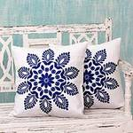 Blue and White Embroidered Floral Cushion Covers (Pair), 'Blue Delhi Splendor'