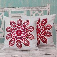 Cotton cushion covers, 'Hot Pink Delhi Splendor' (pair) - Hot Pink and White Embroidered Floral Cushion Covers (Pair)