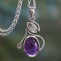 Amethyst pendant necklace, 'Impassioned Plum' - Amethyst Necklace