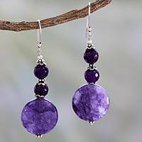 Agate dangle earrings, 'Precious Purple' - Fair Trade Purple Agate Earrings