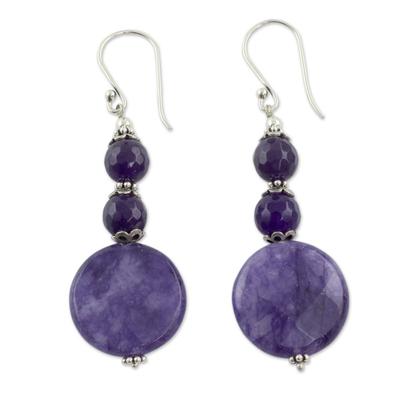 Fair Trade Purple Agate Earrings