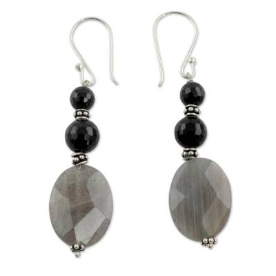Artisan Made Onyx and Labradorite Earrings
