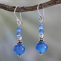 Chalcedony dangle earrings, 'Heavenly' - Sterling Silver and Chalcedony Drop Earrings from India