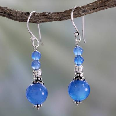 Chalcedony dangle earrings, 'Heavenly' - India Handmade Chalcedony Earrings