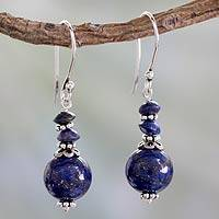 Lapis lazuli dangle earrings, 'Chakra Universe' - Handcrafted Lapis and Sterling Silver Earrings