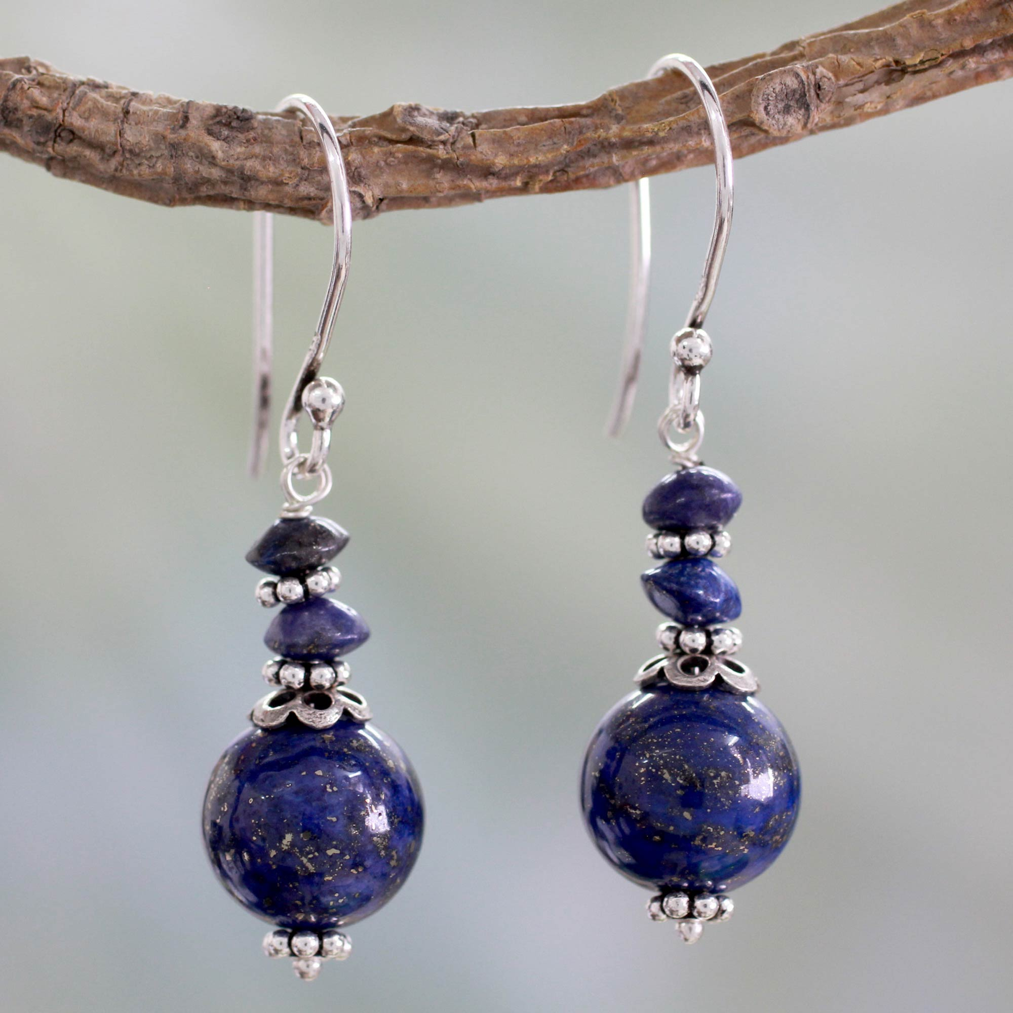 lovepray made gemstone compassion hand products earrings genuine lapis jewelry lazuli