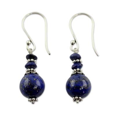 Lapis lazuli dangle earrings, 'Chakra Universe' - Fair Trade Lapis Lazuli Handcrafted Earrings