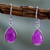 Sterling silver dangle earrings, 'Fuchsia Fashion' - Sterling Teardrop Earrings with Fuchsia Quartz