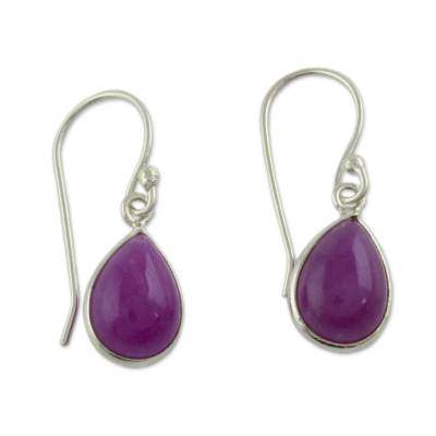 Sterling Teardrop Earrings with Fuchsia Quartz