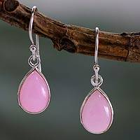 Sterling silver dangle earrings, 'Rose Fashion' - Sterling Teardrop Earrings with Pink Quartz