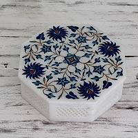 Marble inlay jewelry box, 'Blue Bouquet' - Handcrafted Marble Inlay jewellery Box