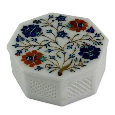 Marble inlay jewelry box, 'Forget Me Not' - Floral Marble Jewelry Box from India