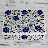 Marble inlay jewelry box, 'Blue Forget Me Nots' - Floral Marble jewellery Box from India
