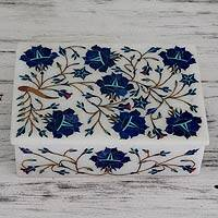Marble inlay jewelry box, 'Wild Blue Flowers' - Unique Indian Marble Inlay Jewelry Box