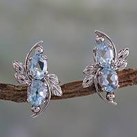 Blue topaz button earrings, 'Elegant Azure' - 4 Carat Blue Topaz Earrings