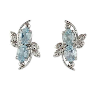 4 Carat Blue Topaz Earrings