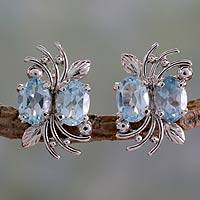 Blue topaz button earrings, 'Azure Treasure' - 4 Carat Blue Topaz and Sterling Silver Earrings