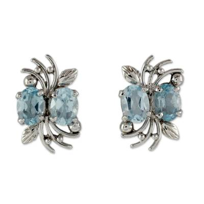 4 Carat Blue Topaz and Sterling Silver Earrings
