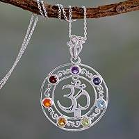 Multi-gemstone chakra necklace, 'Om Magnificence' - 6.3 Cts Multi-gemstone Medallion Necklace