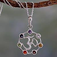 Multi-gemstone chakra necklace, 'Om Chakra' - Sterling Silver Chakra Necklace from India