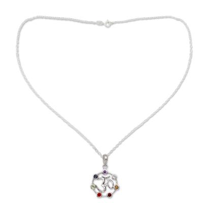 Multi-gemstone chakra necklace, 'Om Chakra' - 6.3 Cts Multi-gemstone Sterling Silver Medallion Necklace
