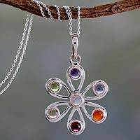 Multi-gemstone chakra flower necklace, 'Blossoming Energy'
