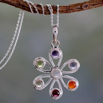 Multi-gemstone chakra flower necklace, 'Blossoming Energy' - Multi Gemstone Sterling Silver Necklace Chakra Jewelry