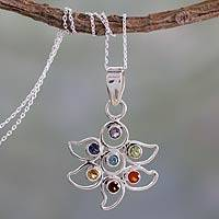 Multi-gemstone chakra flower necklace, 'Rainbow Dew' - Sterling Silver Necklace Multi Gemstone Chakra Jewelry