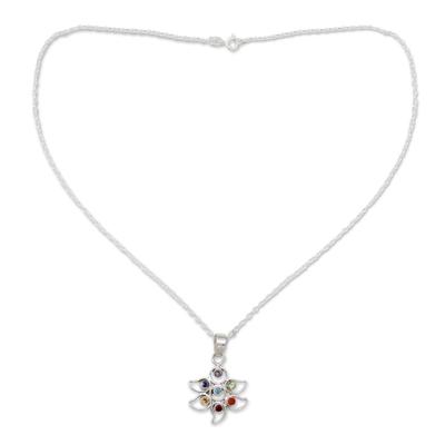 Multi-gemstone chakra flower necklace, 'Rainbow Dew' - Sterling Silver Necklace Multi Gemstone Chakra Jewelry