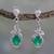 Sterling silver dangle earrings, 'Forest Treasure' - Sterling Silver and Green Onyx Fair Trade Earrings (image 2) thumbail