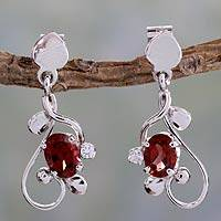 Garnet dangle earrings, 'Pure Love'