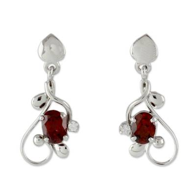 Garnet dangle earrings, 'Pure Love' - 2 Carat Garnet and Sterling Silver Earrings