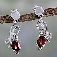 Garnet dangle earrings, 'Romantic Temptation' - 2 Carat Garnet and Sterling Silver Earrings